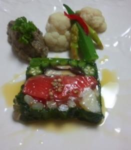 小松菜・アスパラ・しいたけ・オクラ・カリフラワー・パプリカ・いんげんの7種類を使用しています。